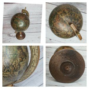 Vintage Wood World Globe And Stand